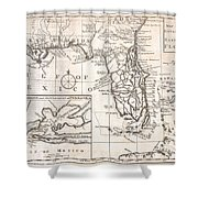 1763 Gibson Map Of East And West Florida Shower Curtain by Paul Fearn