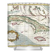 1763 Terreni  Coltellini Map Of Cuba And Jamaica Shower Curtain