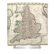 1772 Bonne Map Of England And Wales  Shower Curtain