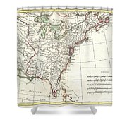 1776 Bonne Map Of Louisiana And The British Colonies In North America Shower Curtain
