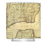 1776 New York City Map Shower Curtain