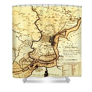 1777 Philadelphia Map Shower Curtain by Bill Cannon
