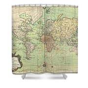 1778 Bellin Nautical Chart Or Map Of The World Shower Curtain