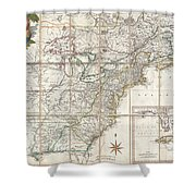 1779 Phelippeaux Case Map Of The United States During The Revolutionary War Shower Curtain
