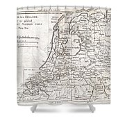 1780 Raynal And Bonne Map Of Holland And Belgium Shower Curtain