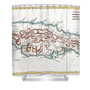 1780 Raynal And Bonne Map Of Jamaica West Indies Shower Curtain