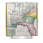 1780 Raynal And Bonne Map Of Louisiana Florida And Carolina Shower Curtain