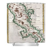 1780 Raynal And Bonne Map Of Martinique West Indies Shower Curtain