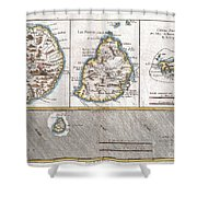 1780 Raynal And Bonne Map Of Mascarene Islands Reunion Mauritius Bourbon Shower Curtain