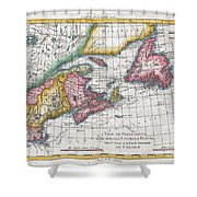 1780 Raynal And Bonne Map Of New England And The Maritime Provinces Shower Curtain