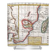 1780 Raynal And Bonne Map Of South Africa Zimbabwe Madagascar And Mozambique Shower Curtain