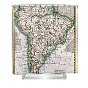 1780 Raynal And Bonne Map Of South America Shower Curtain