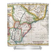 1780 Raynal And Bonne Map Of Southern Brazil Northern Argentina Uruguay And Paraguay Shower Curtain