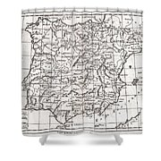 1780 Raynal And Bonne Map Of Spain And Portugal Shower Curtain