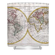 1780 Raynal And Bonne Map Of The Two Hemispheres Shower Curtain