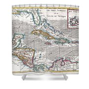 1780 Raynal And Bonne Map Of The West Indies Caribbean And Gulf Of Mexico Shower Curtain