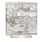 1780 Raynal And Bonne Map Of Turkey In Europe And Asia Shower Curtain