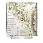 1783 Bocage Map Of The Topography Of Sparta Ancient Greece And Environs Shower Curtain