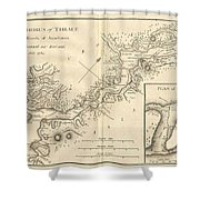 1784 Bocage Map Of The Bosphorus And The City Of Byzantium  Istanbul  Constantinople Shower Curtain