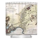 1784 Bocage Map Of The City Of Athens In Ancient Greece Shower Curtain