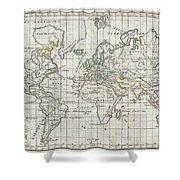 1784 Vaugondy Map Of The World On Mercator Projection Shower Curtain