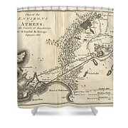 1785 Bocage Map Of Athens And Environs Including Piraeus In Ancient Greece Shower Curtain