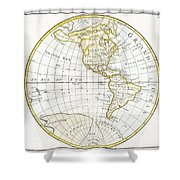 1785 Clouet Map Of North America And South America Shower Curtain