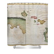 1785 Cook  Bligh Map Of Hawaii  Shower Curtain