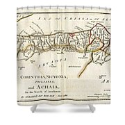 1786 Bocage Map Of Corinthia Sicyonia And Achaia In Ancient Greece Shower Curtain