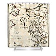 1786 Bocage Map Of Elis And Triphylia In Ancient Greece  Shower Curtain
