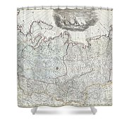 1787 Wall Map Of The Russian Empire Shower Curtain
