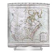 1789 Brion De La Tour Map Of North America Shower Curtain