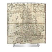 1790 Faden Map Of The Roads Of Great Britain Or England Shower Curtain