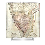 1793 Faden Wall Map Of India Shower Curtain