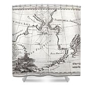 1798 Cassini Map Of Alaska And The Bering Strait Shower Curtain