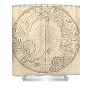 1799 Clement Cruttwell Map Of North Pole Shower Curtain