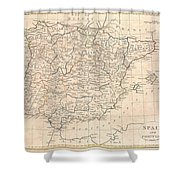 1799 Clement Cruttwell Map Of Spain And Portugal Shower Curtain