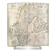 1799 Clement Cruttwell Map Of Sweden Denmark And Norway Shower Curtain