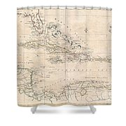 1799 Clement Cruttwell Map Of West Indies Shower Curtain