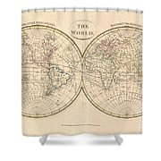 1799 Cruttwell Map Of The World In Hemispheres Shower Curtain
