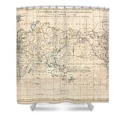 1799 Cruttwell Map Of The World On Mercators Projection Shower Curtain
