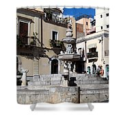 Another View Of An Old Unused Fountain In Taormina Sicily Shower Curtain