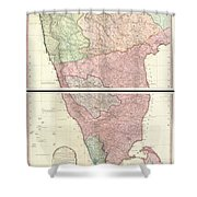 1800 Faden Rennell Wall Map Of India Shower Curtain