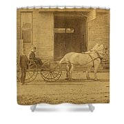 1800's Vintage Photo Of Horse Drawn Carriage Shower Curtain