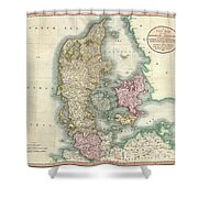 1801 Cary Map Of Denmark Shower Curtain