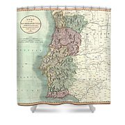 1801 Cary Map Of Portugal Shower Curtain
