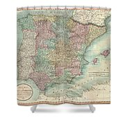 1801 Cary Map Of Spain And Portugal Shower Curtain