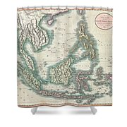 1801 Cary Map Of The East Indies And Southeast Asia  Singapore Borneo Sumatra Java Philippines Shower Curtain