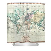 1801 Cary Map Of The World On Mercator Projection Shower Curtain
