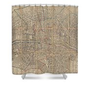 1802 Chez Jean Map Of Paris In 12 Municipalities France Shower Curtain
